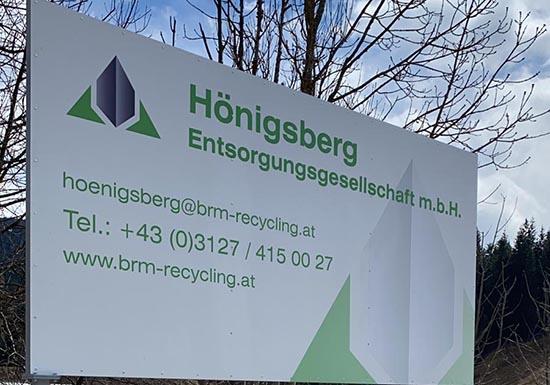 Deponie Hönigsberg Tafel